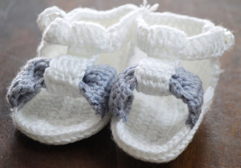 Handmade Crochet Shoes for NewBorn Baby - White/Grey - SharePyar - 1