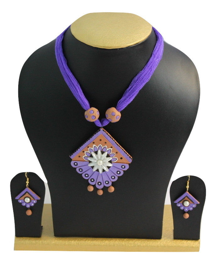 Handmade Traditional Purple Terracotta Jewellery, Necklace Earring Set - Jewellery - SharePyar