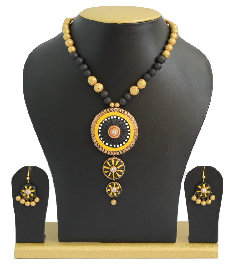 Handmade Terracotta Jewellery, Trendy Necklace Earring Set, Black & Yellow - Jewellery - SharePyar