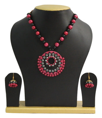 Handmade Terracotta Jewellery, Contemporary Necklace Earring Set, Black & Dark Red Pink - Jewellery - SharePyar