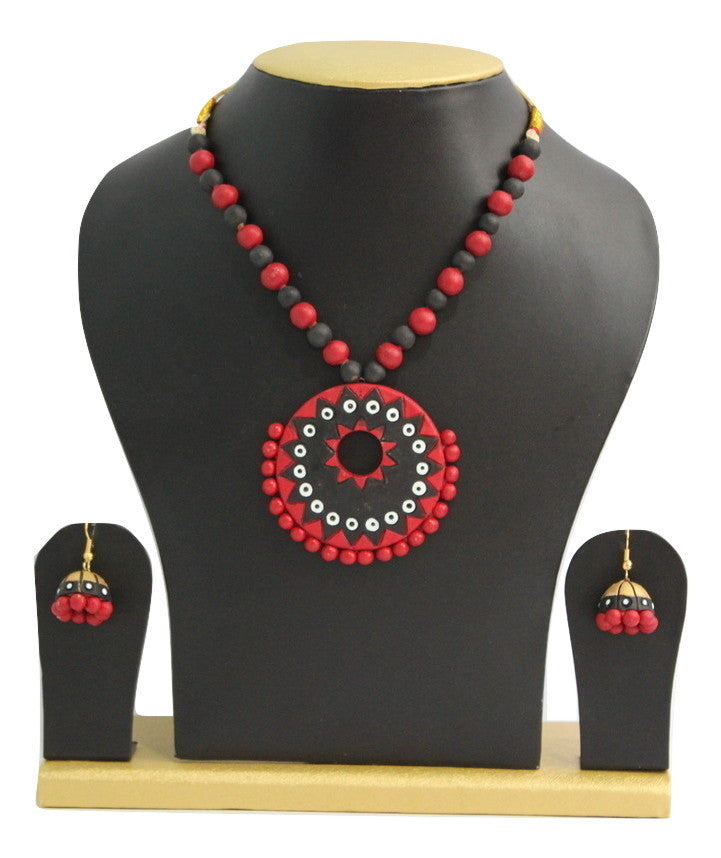 Handmade Terracotta Jewellery, Contemporary Necklace Earring Set, Black & Red - Jewellery - SharePyar