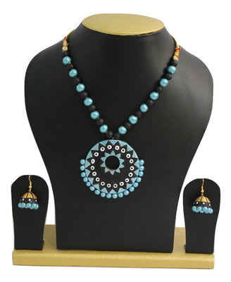 Handmade Terracotta Jewellery, Contemporary Necklace Earring Set, Black & Sky Blue - Jewellery - SharePyar