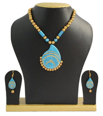 Handmade Terracotta Jewellery, Traditional Necklace Earring Set,Gold & Blue - Jewellery - SharePyar