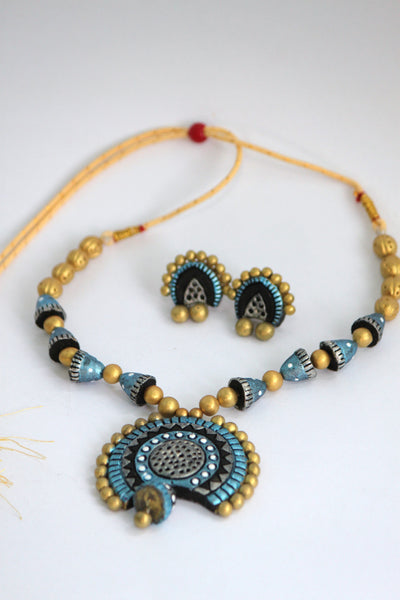 Handmade Terracotta Jewellery, Traditional Necklace Earring Set, Gold, Light Blue & Black - SharePyar - 2
