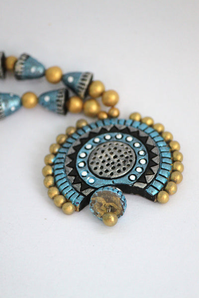 Handmade Terracotta Jewellery, Traditional Necklace Earring Set, Gold, Light Blue & Black - SharePyar - 4