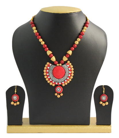 Handmade Terracotta Jewellery, Traditional Necklace Earring Set, Gold & Red - SharePyar - 1