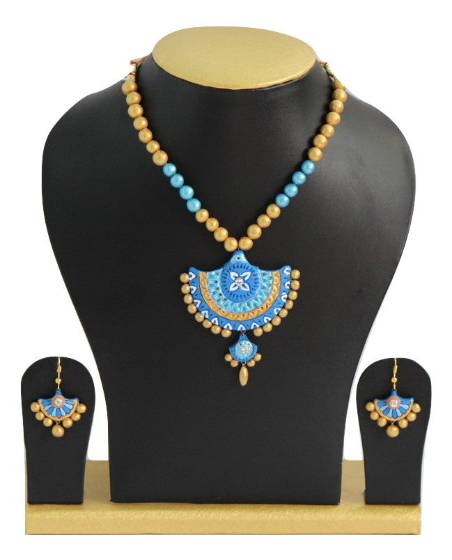 Handmade Terracotta Jewellery, Traditional Necklace Earring Set, Sky Blue, Gold - SharePyar - 1