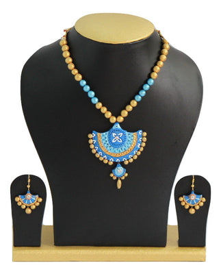 Handmade Terracotta Jewellery, Traditional Necklace Earring Set, Sky Blue & Gold - Jewellery - SharePyar