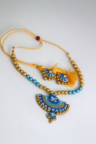 Handmade Terracotta Jewellery, Traditional Necklace Earring Set, Sky Blue & Gold - SharePyar - 2