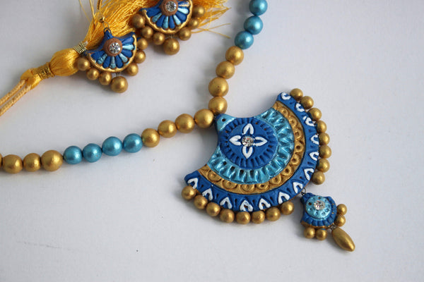 Handmade Terracotta Jewellery, Traditional Necklace Earring Set, Sky Blue & Gold - SharePyar - 3