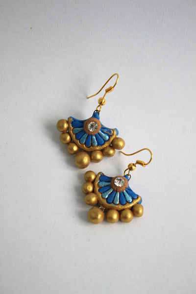 Handmade Terracotta Jewellery, Traditional Necklace Earring Set, Sky Blue & Gold - SharePyar - 4