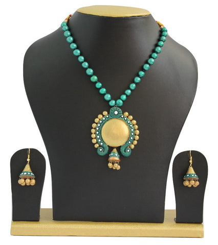 Handmade Terracotta Jewellery, Traditional Necklace Earring Set, Green Gold - SharePyar - 1
