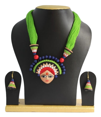 Handmade Terracotta Jewellery, Necklace Earring Set, Green - SharePyar - 1