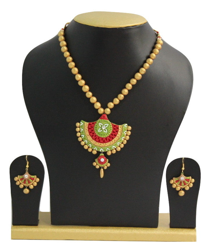 Handmade Terracotta Jewellery, Traditional Necklace Earring Set, Green, Red, Gold - Jewellery - SharePyar