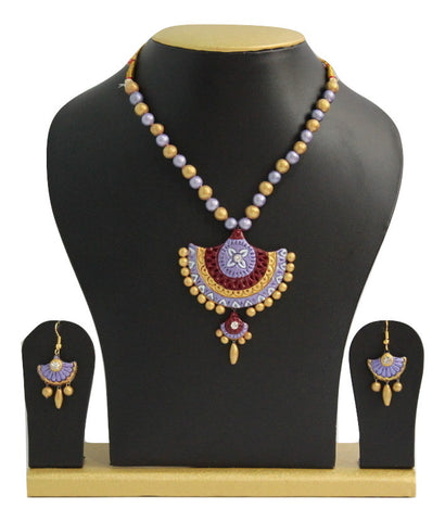 Handmade Terracotta Jewellery, Traditional Necklace Earring Set, Light Purple, Maroon, Gold - SharePyar - 1