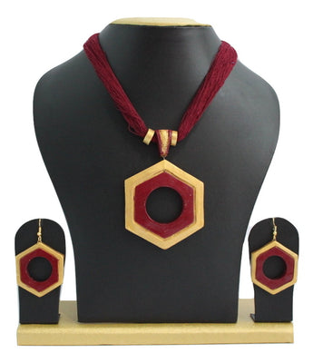 Handmade Terracotta Jewellery, Contemporary Necklace Earring Set, Maroon / Gold - Jewellery - SharePyar