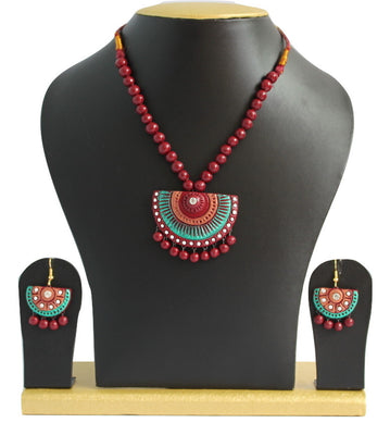 Handmade Terracotta Jewellery, Traditional Necklace Earring Set, Maroon & Green - Jewellery - SharePyar