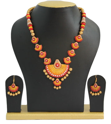 Handmade Terracotta Jewellery, Traditional Necklace Earring Set, Orange / Yellow - Jewellery - SharePyar