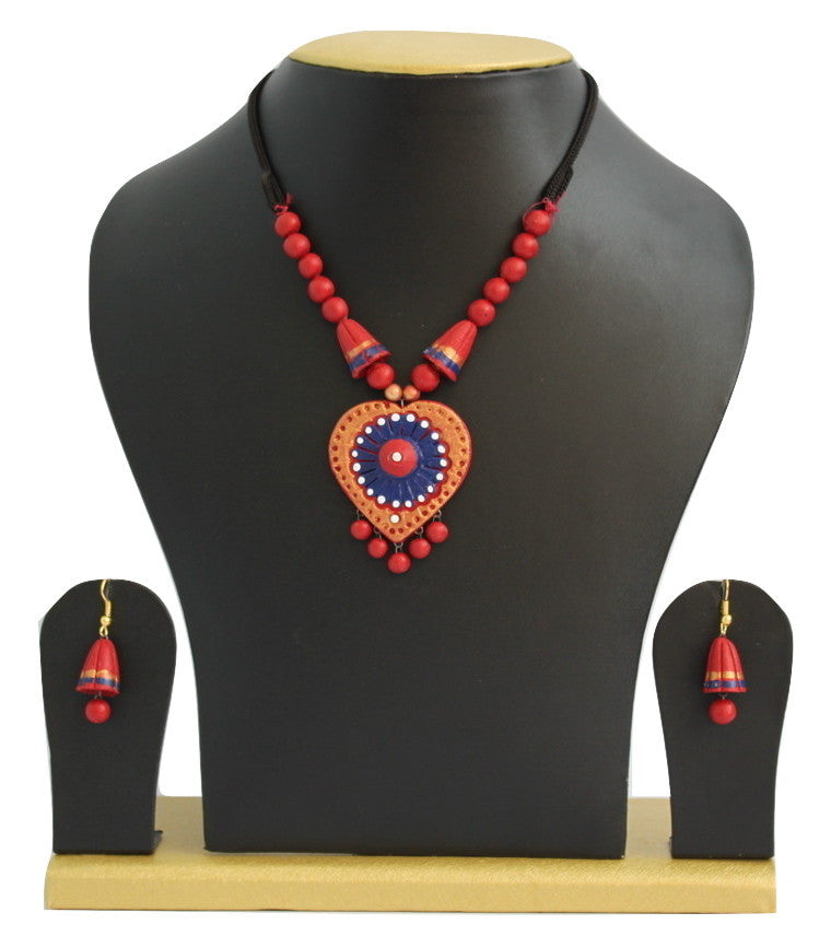 Handmade Terracotta Jewellery, Casual Necklace Earring Set, Orange Red - SharePyar