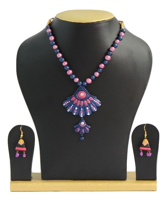 Handmade Terracotta Jewellery, Casual Necklace Earring Set, Light Pink & Indigo - Jewellery - SharePyar
