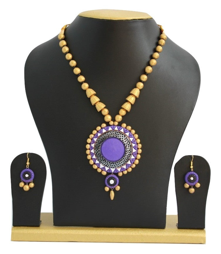 Handmade Terracotta Jewellery, Traditional Necklace Earring Set, Purple / Gold - SharePyar - 1