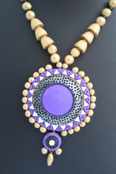 Handmade Terracotta Jewellery, Traditional Necklace Earring Set, Purple / Gold - SharePyar - 2