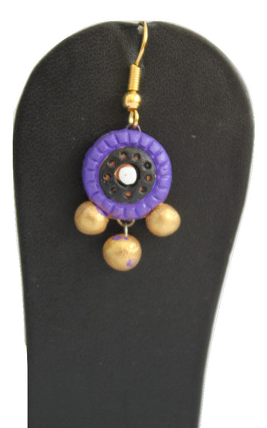 Handmade Terracotta Jewellery, Traditional Necklace Earring Set, Purple / Gold - SharePyar - 3