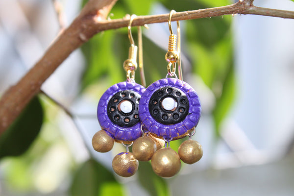 Handmade Terracotta Jewellery, Traditional Necklace Earring Set, Purple / Gold - SharePyar - 5