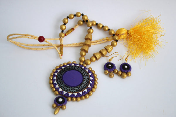 Handmade Terracotta Jewellery, Traditional Necklace Earring Set, Purple / Gold - SharePyar - 4