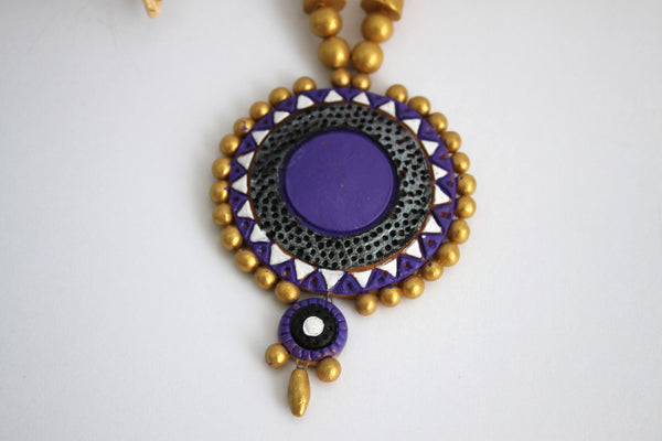 Handmade Terracotta Jewellery, Traditional Necklace Earring Set, Purple / Gold - SharePyar - 6
