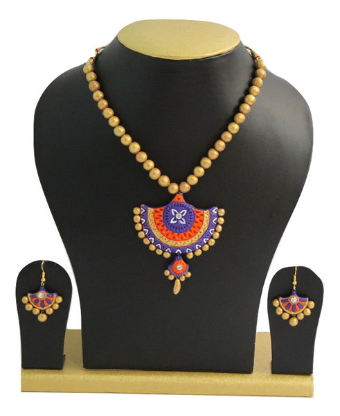 Handmade Terracotta Jewellery, Traditional Necklace Earring Set, Purple, Orange, Gold - SharePyar - 1