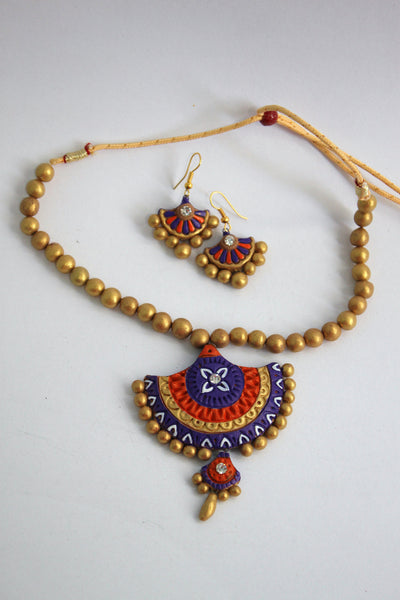 Handmade Terracotta Jewellery, Traditional Necklace Earring Set, Purple, Orange, Gold - SharePyar - 2
