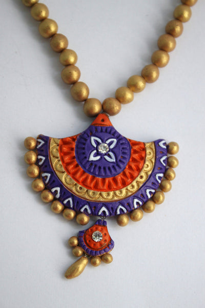 Handmade Terracotta Jewellery, Traditional Necklace Earring Set, Purple, Orange, Gold - SharePyar - 3