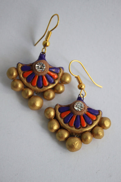 Handmade Terracotta Jewellery, Traditional Necklace Earring Set, Purple, Orange, Gold - SharePyar - 4
