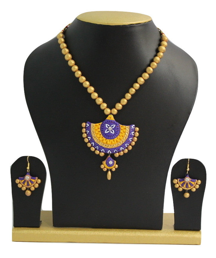 Handmade Terracotta Jewellery, Traditional Necklace Earring Set, Purple, Yellow, Gold - Jewellery - SharePyar
