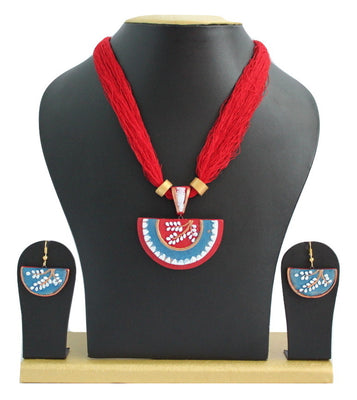 Handmade Terracotta Jewellery, Necklace Earring Set, Red / Blue - Jewellery - SharePyar