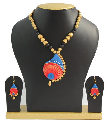 Handmade Terracotta Jewellery, Traditional Necklace Earring Set, Red & Blue - SharePyar - 1
