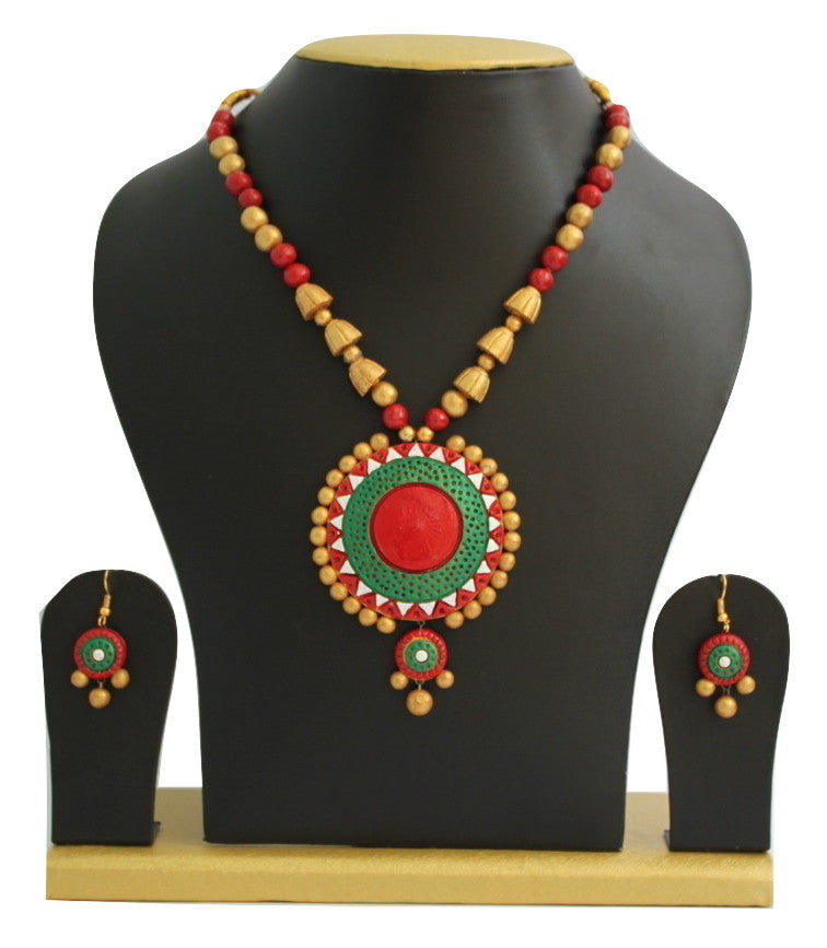 Handmade Terracotta Jewellery, Traditional Necklace Earring Set, Red / Green - Jewellery - SharePyar