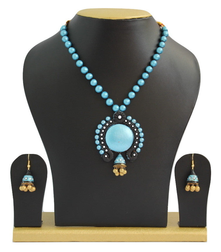 Handmade Terracotta Jewellery, Traditional Necklace Earring Set, Skyblue Black - Jewellery - SharePyar