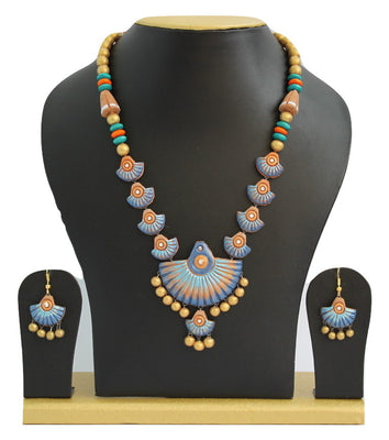 Handmade Terracotta Jewellery, Traditional Necklace Earring Set, Sky Blue /Dark Blue - Jewellery - SharePyar