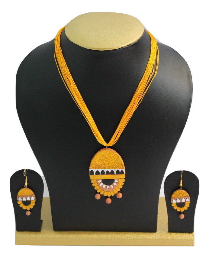 Handmade Terracotta Jewellery, Necklace Earring Set, Yellow - SharePyar - 1