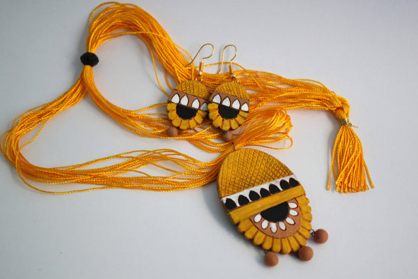 Handmade Terracotta Jewellery, Necklace Earring Set, Yellow - SharePyar - 2