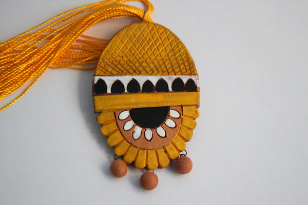 Handmade Terracotta Jewellery, Necklace Earring Set, Yellow - SharePyar - 3