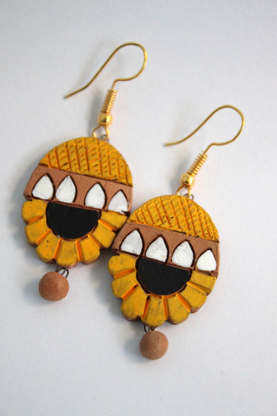 Handmade Terracotta Jewellery, Necklace Earring Set, Yellow - SharePyar - 4