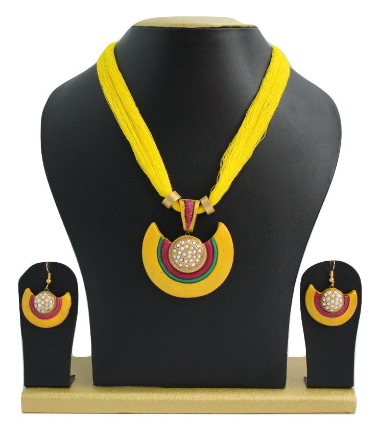 Handmade Terracotta Jewellery, Necklace Earring Set, Yellow / White - Jewellery - SharePyar
