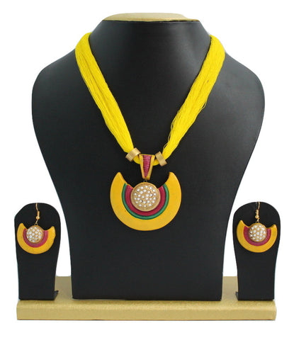 Handmade Terracotta Jewellery, Necklace Earring Set, Yellow / White - SharePyar - 1