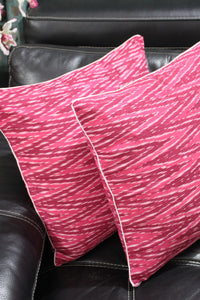SharePyar Ikat Chevron Cushion Covers, Pink Brown - 16 x 16 Inch - Set of Two - SharePyar