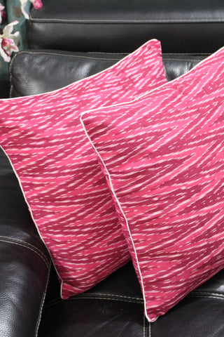 SharePyar Ikat Chevron Cushion Covers, Pink Brown - 16 x 16 Inch - Set of Two - SharePyar - 1
