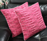 SharePyar Ikat Chevron Cushion Covers, Pink Brown - 16 x 16 Inch - Set of Two - Cushion Covers - SharePyar