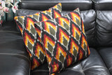 SharePyar Ikat Handloom Cushion Covers, Multicolour - 16 x 16 Inch - Set of Two - Cushion Covers - SharePyar